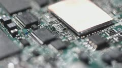 stock footage electronic circuit board with chip close up - stock footage