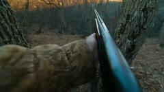 Hunter Loading Shotgun - stock footage