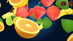 Collorfull Falling Fruits 2 with defocus areas Stock Footage