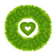 green grass love heart frame - stock illustration