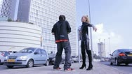 Sexy couple dancers dance sexual robotic erotic fashion street dancing  Stock Footage