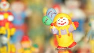 Different shots of  the clown statuettes in Akvamarine circus. Stock Footage
