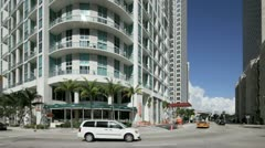 Biscayne Boulevard at Downtown Miami Stock Footage