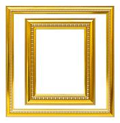 Golden wood frame isolated Stock Photos