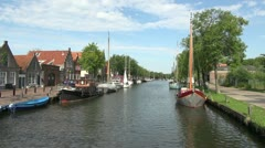 Netherlands Edam canal boats Stock Footage