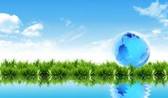World globe in grass . Stock Photos