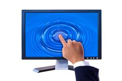 hand touching on flat panel screen - stock illustration
