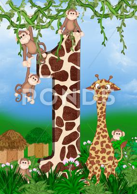 Stock Illustration of jungle animals with number 1