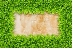 Green grass frame on vintage paper background Stock Illustration