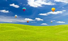 Stock Photo of colorful hot air balloon against blue sky