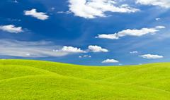Green grass meadow and blue sky Stock Photos