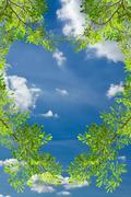 love heart green leave against blue sky - stock photo