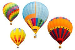 Set of colorful hot air balloon isolated on white background Stock Photos