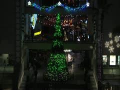Christmas tree & Traffic Timelapse NIGHT Wide shot Stock Footage