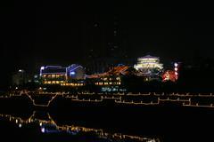 illuminated embankment in chengdu, china - stock photo