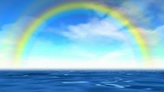 Rainbow over sea. - stock footage