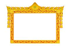 Ancient thai style sculpture frame isolated Stock Photos