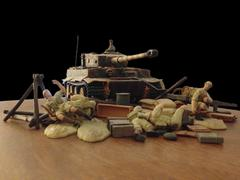 Model tank and soldiers on a matte background Stock Photos