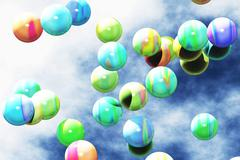 Colorful Balls Floating in the Air 3D render Stock Illustration
