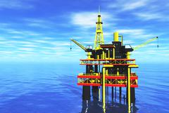Sea Oil Platform - stock illustration