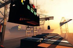 Stock Illustration of Industrial Port sunset sunrise 3D render