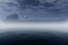 Cargo Ship in Very Foggy Industrial Port 3D render - stock illustration