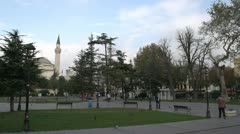 Sultan Ahmet Square Istanbul, early morning, few people Stock Footage
