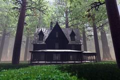 Stock Illustration of Scary House in Deep Forest 3D render
