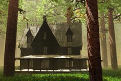 Scary House in Deep Forest 3D render Stock Illustration