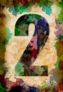 number two watercolor on vintage paper - stock photo
