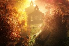 Stock Illustration of Autumn in Cemetery 3D render