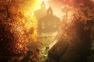 Autumn in Cemetery 3D render Stock Illustration
