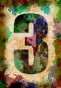 number three watercolor on vintage paper - stock photo