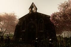 Autumn in Cemetery 3D render - stock illustration