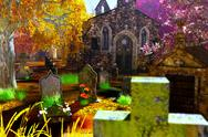 Autumn in Cemetery 3D render Stock Illustration