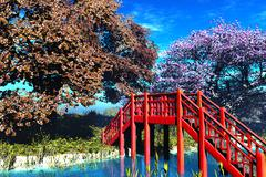 Traditional Bridge in Japanese Garden 3D render Stock Illustration