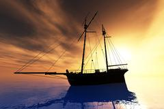 Cutter in the Sunset 1.jpg Stock Illustration