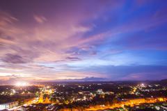 cityscape sunset sky - stock photo