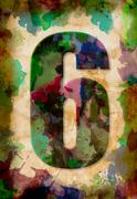 number six watercolor on vintage paper - stock photo
