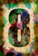 number eight watercolor on vintage paper - stock photo