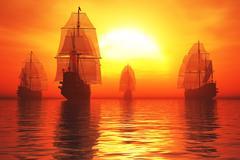 Old Battleships in the Sunset 3D render Stock Illustration