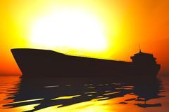 Tanker in the Sea Sunset Sunrise 3D render Stock Illustration