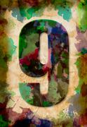 number nine watercolor on vintage paper - stock photo