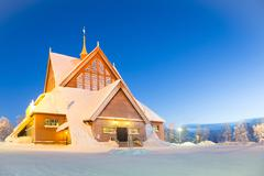 kiruna cathedral sweden - stock photo