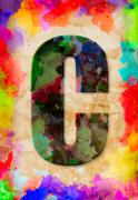 letter c watercolor on vintage paper - stock photo