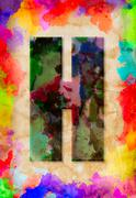 letter h watercolor on vintage paper - stock photo