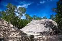 "Small ballcourt for the old mayan game ""pok-ta-pok"", coba, mexico Stock Photos"