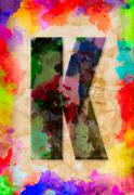 Letter k watercolor on vintage paper Stock Photos
