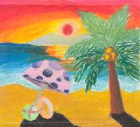Tropical beach free hand drawing Stock Photos