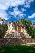 """Temple of the bearded man at the end of great ball court for playing """"pok-ta- Stock Photos"""